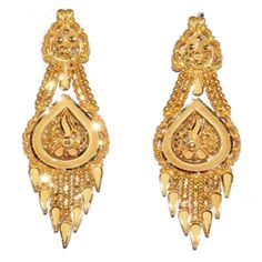 Awesome, Stunning and attractive designs of ear rings. Gold Bangles Design, Gold Earrings Designs, Necklace Designs, Gold Jhumka Earrings, Jewellery Earrings, Pendant Jewelry, Gold Necklace Simple, Gold Jewelry Simple, Indian Jewelry Sets