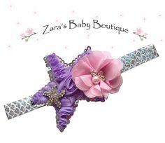 Mermaid Headband * Starfish Headband * Pink Purple * Flower Headband * Multi-Color * Cake Smash * Baby Toddler Girls * Zara's Baby Boutique by ZarasBabyBoutique on Etsy