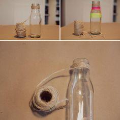 DIY neon rope vases