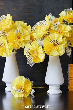 A triangular vase displays welcoming crepe-paper flowers in shades of yellow. Painted, striped petals and mottled-crepe leaves give each flower a layered look, as well as a wild personality. To add these details to the crepe paper, use a thin brush and a craft sponge. #marthastewart #crafts #diyideas #easycrafts #tutorials #hobby Hanging Paper Flowers, How To Make Paper Flowers, Tissue Paper Flowers, Shade Flowers, Diy Flowers, Fabric Flowers, Flower Diy, Yellow Flowers, Crepe Paper Roses