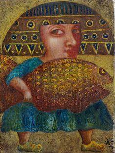 """Купить """"Большая удача"""", авторская печать. - оранжевый, удача, рыба, желание, сувенир"""