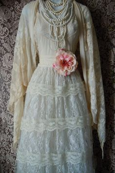 Ivory lace dress handmade by vintage opulence on Etsy The top is a soft ivory with lace trim, adjustable spaghetti shoulder straps and an