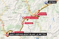 carte 14 _ 14ème étape–Vétroz– Conthey – Riddes – Saxon –Col du Lein– Vollèges –Col des Planches– Martigny-Combe – Le Fays –Col de la Forclaz– Trient – Finhaut –Barrage d'Emosson– demi-tour – Finhaut – Vallorcine –Col des Montets– Chamonix-Mont-Blanc – Les Houches –Côte de Vaudagne– Servoz – Passy – Côte des Amerands – Saint-Gervais-les-Bains –Le Bettex= 165 km