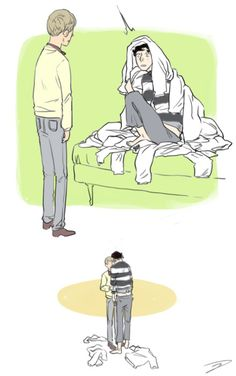 """I feel like Sherlock sometimes wears John's sweaters when he's bored and John is out of the house.""  art by reapersun"