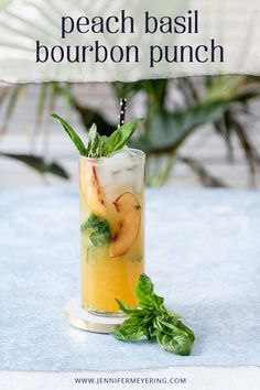 Fresh basil leaves are muddled with peach nectar then shaken with some lemongrass paste, honey, and bourbon. Easy Drink Recipes, Best Cocktail Recipes, Punch Recipes, Light Recipes, Cooking Recipes, Bourbon Cocktails, Fun Cocktails, Cocktail Drinks, Prosecco Cake