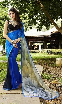 Indian Vogue Self Design Beautiful Blue Georgette Saree