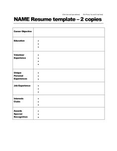 Blank Resume Fill In The Blank Resume Lifiermountain Org  Simple Resume .