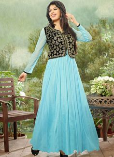 Blue Net Gown With Zari Work