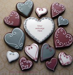 Cool Colors! Heart Shaped Decorated Sugar cookies by ChrisCreativeConfect, $36.00
