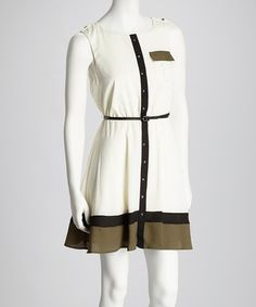 Take a look at this Ivory & Olive Stud Sleeveless Belted Shirt Dress by Choon on #zulily today!