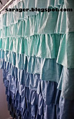 One of the best ombre ruffled shower curtain tutorials I've seen - using inexpensive white muslin & gives tips on how to dye to get the varying colors - definitely doing this for my bathroom!