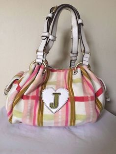 Juicy Couture White Striped Velour Satchel Bag    eBay