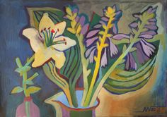 Marina Gorkaeva. Flowers.  Painting: Acrylic and Tempera on Paper.   42.7 H x 61 W x 0.1 cm.  2016