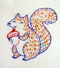 Happy Squirrel Embroidery