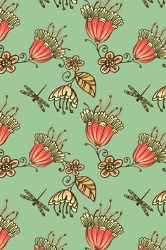 """Enchanted Garden"" by Magg. To have a colourlovers pattern printed on fabric, go to http://www.colourlovers.com/store/fabric"