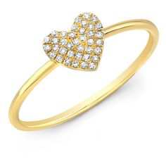 Anne Sisteron  14KT Yellow Gold Diamond Valentine Heart Ring ($345) ❤ liked on Polyvore featuring jewelry, rings, gold, gold jewelry, heart diamond ring, gold jewellery, diamond jewelry and gold heart shaped ring