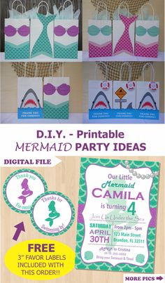 Mermaid Party Favor Bags/ Mermaid Birthday Party ideas/ Little Mermaid Party theme decorations/ Mermaid Party favors/ Girl Pool Party ideas/ Under the Sea birthday Party/ Unicorns/ Unicorn Birthday party theme Ideas/ Mermaid treat/ goodie/ goody/ gift/ loot/ candy bags/ Mermaid birthday cake/ cupcake toppers/ Mermaid invite/ mermaid invitations/ Pirate Party/ Shark party/ Mermaids summer pool party/ Mermaid party banner/ labels/ fiesta sirena/ sirenita/ mermaid tail/ festa sereia/ free Little Mermaid Birthday, Little Mermaid Parties, Unicorn Birthday Parties, Birthday Party Themes, Birthday Cake, Mermaid Party Favors, Mermaid Invitations, Diy Party Bags, Party Favor Bags