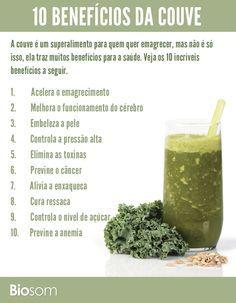 Clique na imagem e veja os 10 benefícios da couve para a saúde. #saúde #couve…