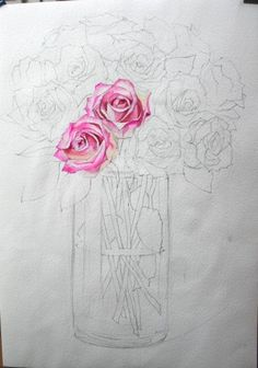 How To Paint Realistic Watercolor Roses: Art Floral, Floral Drawing, Fabric Painting, Painting & Drawing, Watercolor Paintings, Painting Lessons, Art Lessons, Watercolour Tutorials, Watercolor Rose