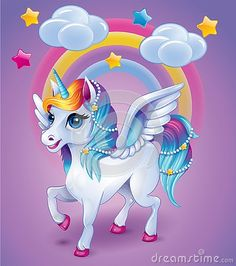 Illustration about Cute baby cartoon unicorn with wings on rainbow background, cartoon illustration. Illustration of illustration, wing, young - 147517458 Unicorn Painting, Unicorn Drawing, Cartoon Unicorn, Unicorn Art, Unicorn Images, Unicorn Pictures, Cute Rainbow Unicorn, Cute Unicorn, Cute Baby Cartoon