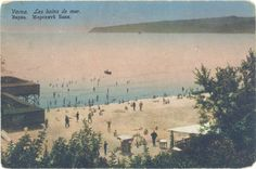 Courtesy of the Varna Public Library (http://catalog.libvar.bg/). The beach to the lady's bathroom, seen from the garden. The bottom shows Cape Galata. The sea is full of bathers.