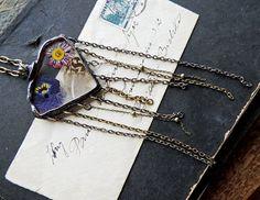 Bohemian necklace terrarium necklace dried mossboho by MARIAELA, $59.00