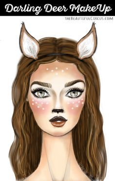 During last year's Halloween I wore this (last minute) deer make-up for the kid's Halloween party and received lots of comments on Instagram about it. So I thought I'd kick off this Halloween season with an easy step-by-step how-to deer make up with some quick sketches I made & the make-up I used.