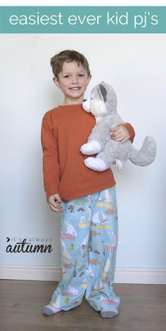 pajamas-kids-easiest-way-to-sew-make.  Kid pajama shirt from an adult shirt tutorial.  Tutorial on how to make the pants also.  I will use cheap throw blankets for those when they go on sale around Christmas time in a Christmas/winter theme.