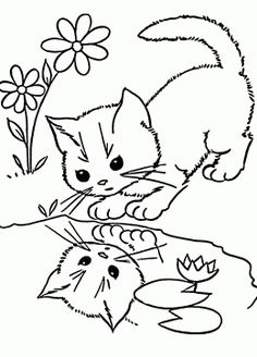 Little Cat coloring page for kids, animal coloring pages printables free