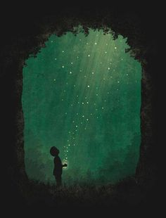 Happiness is catching fireflies and watching their quiet beauty