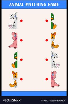 Matching halves game with farm animal characters vector image on VectorStock Emotions Preschool, Farm Animals Preschool, Preschool Phonics, Preschool Writing, Preschool Crafts, Preschool Learning Activities, Preschool Activities, Kids Learning, Diy Montessori Toys