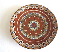 Vintage Bulgarian Folk Hand Painted Red Clay Traditional Plate, Troyan Pottery, Folk Art Decorative Plate, Home Decor by oldarticlesbg on Etsy