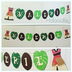 Moana Polynesian Banner Birthday Party Coconut Leaves Tropical