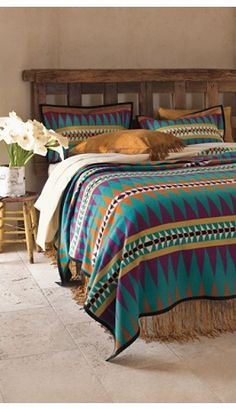 "Like the head board and leather fringe skirt. This bed with the leather fringe as the bed skirt and Pendleton ""Turquoise Trail"" Blanket is the perfect style for my adorne Beautiful Switch Southwestern dreamscape perfect bedroom. Southwestern Decorating, Southwest Decor, Southwest Style, Home Bedroom, Master Bedroom, Bedroom Decor, Bedrooms, Bedding Collections, Home Collections"