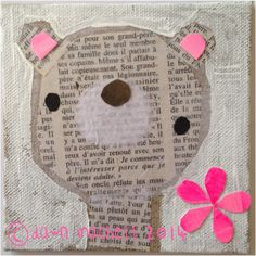 pop-i-cok: just because…bear collage using newspaper and hot pink paper.