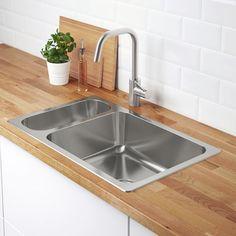 HILLESJÖN 1 1/2 bowl dual mount sink, stainless steel. Find it here! - IKEA Semarang, Ikea, Kitchen Backsplash, Kitchen Countertops, Soapstone Countertops, Kitchen Sinks, Kitchen Redo, Kitchen Island With Stove, Kitchen Islands
