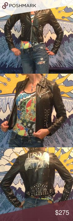 Led Zeppelin Studded Leather Jacket Groovy, only-worn-once, studded up, Wilsons Leather Rocks, Led Zeppelin, Icarus jacket! So flashy! Wilsons Leather Jackets & Coats
