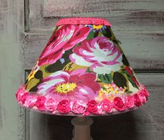 Lampshade hot pink floral bell shaped rosette trim fringe trim white green yellow by HolyChicBoutiqueCo on Etsy