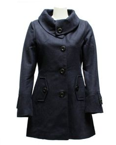Amazon.com: Ladies Navy Blue Wool Blend Button Collar Pea Coat: Clothing