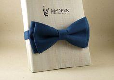Blue Bow Tie  Ready Tied Bow Tie  Adult Bow Tie  by MrDEERbowtie