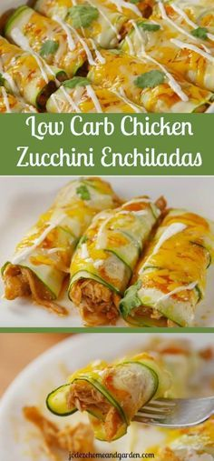 Low Carb Chicken Zucchini Enchiladas - This Mexican inspired keto dish features wholesome, nutritious ingredients without the grains and sugars.