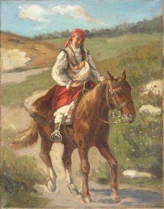 Władysław Karol SZERNER,Jazda konno, olej, płótno, 36 x 28,5 cm