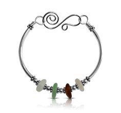 Bracelet Bangle Sea Glass Sterling Silver Free by ToBeMeJewelry