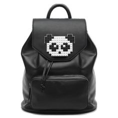 Freddy Panda (1.314.660 COP) ❤ liked on Polyvore featuring bags, handbags, backpack, leather backpack purse, panda purse, flap backpack, leather knapsack and genuine leather handbags