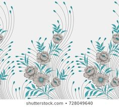 Seamless textile floral border Embroidery Suits Design, Bead Embroidery Patterns, Hand Work Embroidery, Couture Embroidery, Shirt Embroidery, Hand Embroidery Designs, Textile Patterns, Beaded Embroidery, Textile Design