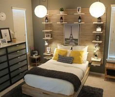 The key features of this bedroom are the MANDAL bed frame with storage drawers, for things like your off season clothes, blankets, etc. and the MANDAL headboard with the bedside shelves ,which do not impact your floor space. It looks organized, warm and cozy. http://hative.com/cozy-bedroom-ideas/