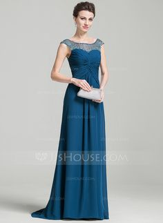 [US$ 141.99] A-Line/Princess Scoop Neck Sweep Train Chiffon Mother of the Bride Dress With Ruffle Beading Sequins (008074207)