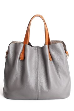 Ohan Gray Stitching Textured Leather Tote Bag | Totes at DEZZAL Click on picture to purchase!