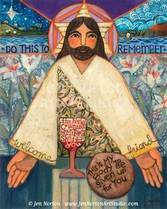 The Sacrifice ©Jen Norton. This folk art-styled painting illustrates the mission of Jesus in his earthly life: to give up everything so that we might be saved. From His birth in humble Bethlehem to His death on Calvary, He shed his body and blood for us. We must do the same to follow Him. In the Catholic Mass, we are welcomed to His table of unending Grace. Jen Norton Art Studio prints let you bring faith and tradition beautifully to your home.