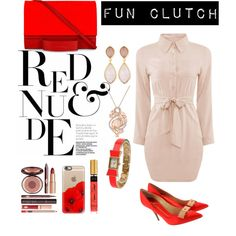 Red & Nude by ivent-valentina on Polyvore featuring polyvore fashion style Giuseppe Zanotti Esin Akan Kate Spade Dina Mackney LE VIAN Casetify Charlotte Tilbury clothing